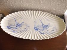 RARE ANTIQUE LARGE OVAL PLATTER 1891 ? COPELAND BLUE GROUSE PHEASANT 22.75""